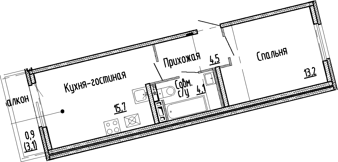 2Е-к.кв, 37.5 м², 4 этаж