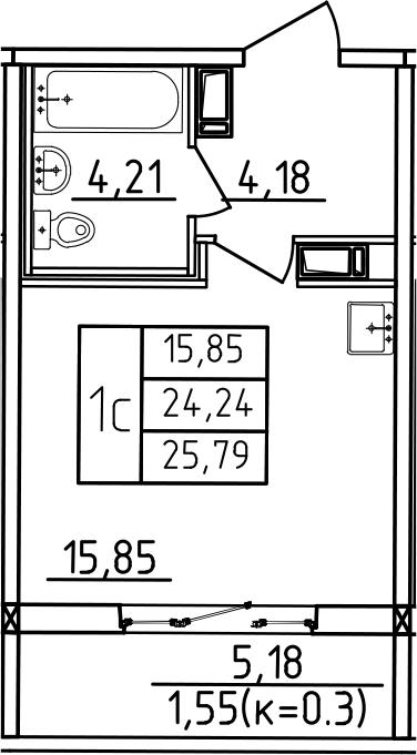 Студия, 25.79 м²– 2