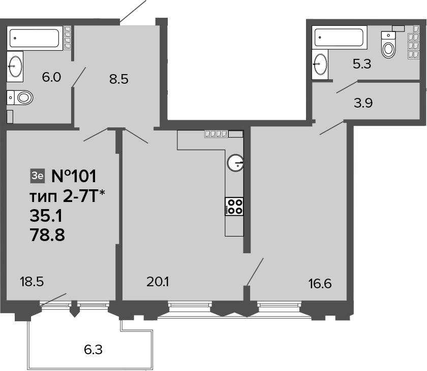 3Е-комнатная, 78.8 м²– 2