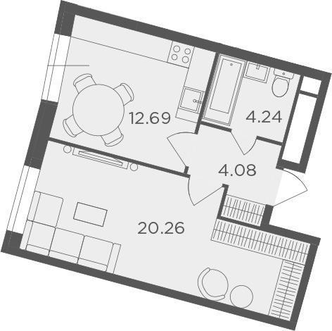 1-к.кв, 41.27 м²