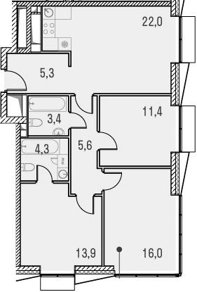 4Е-комнатная квартира, 81.9 м², 26 этаж – Планировка