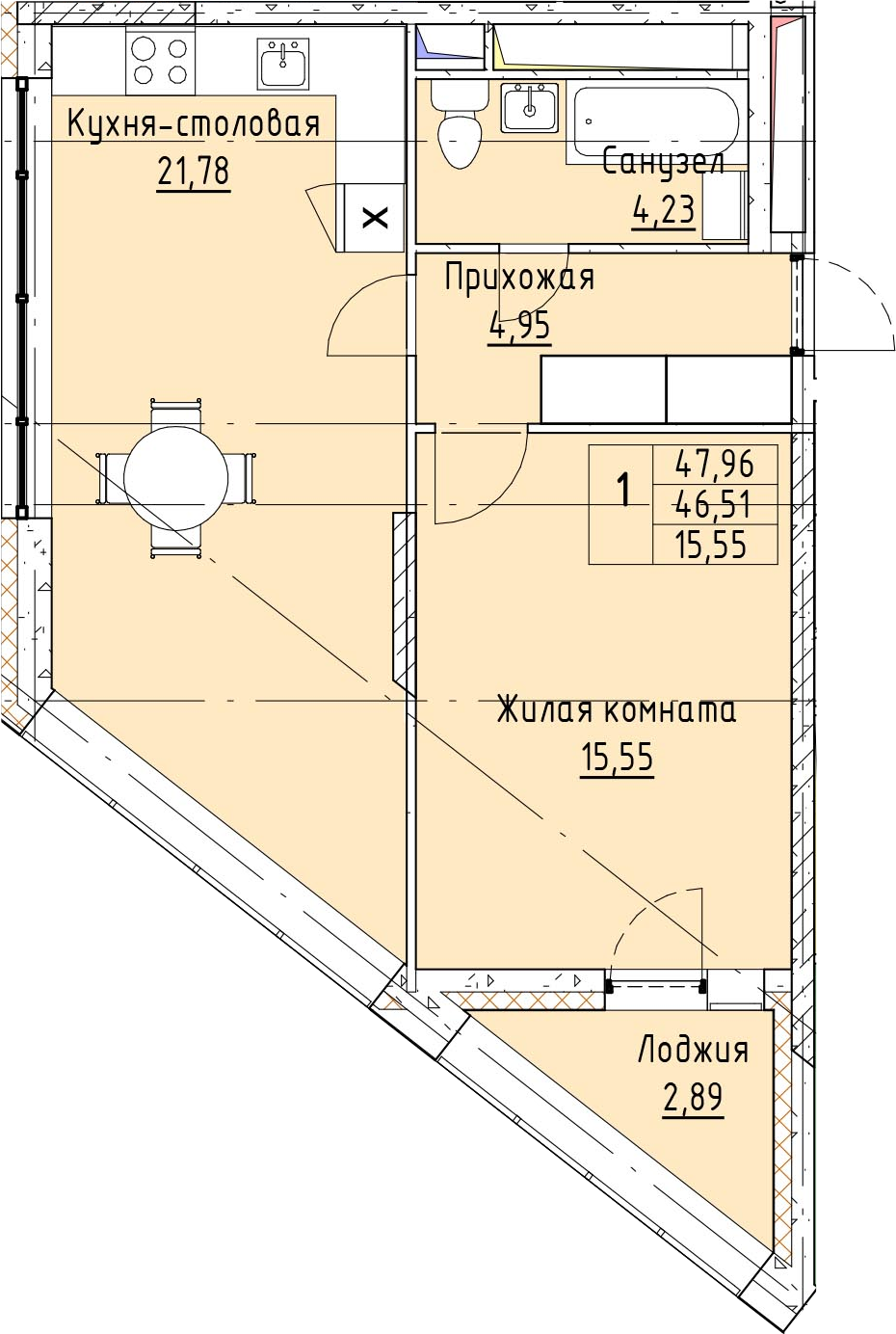 2Е-к.кв, 47.96 м²