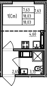 Студия, 18.03 м², 16 этаж
