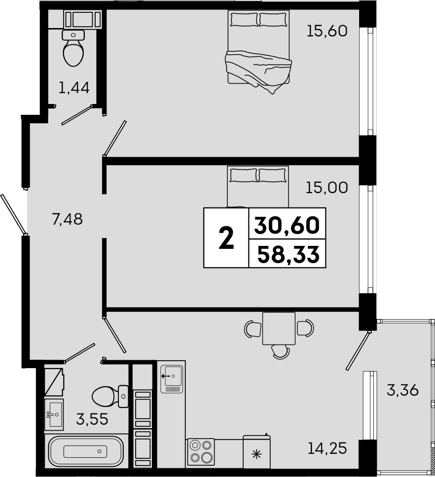 2-комнатная, 58.33 м²– 2