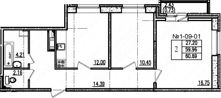 2-к.кв, 60.69 м², 9 этаж