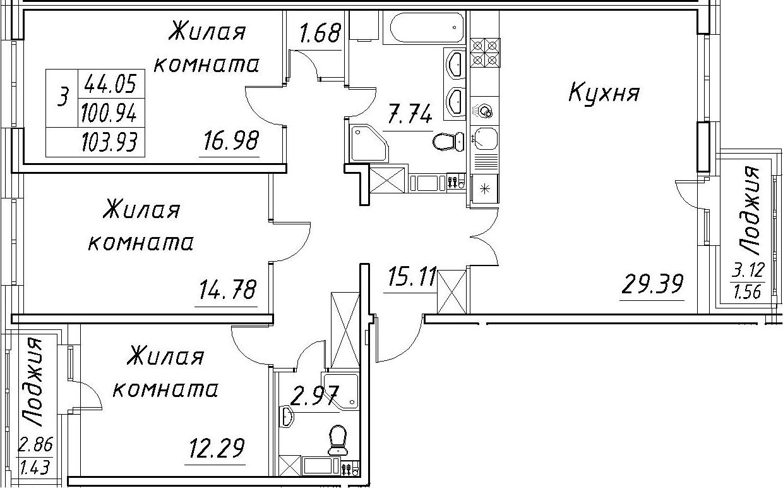 4Е-к.кв, 103.93 м², 11 этаж