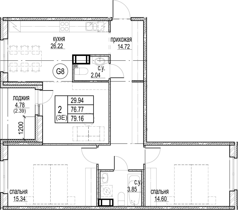 3Е-комнатная, 79.16 м²– 2