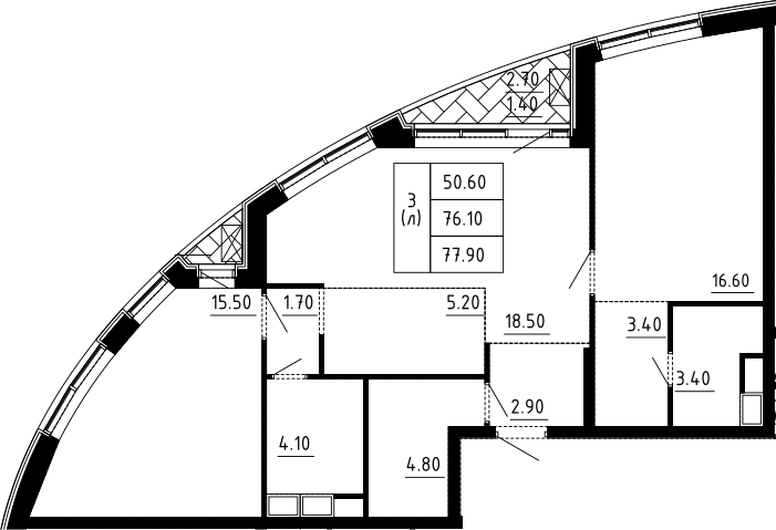 3Е-комнатная квартира, 77.9 м², 4 этаж – Планировка