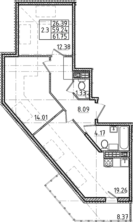 3Е-к.кв, 59.24 м²