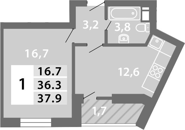 1-к.кв, 39.64 м²