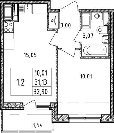 2Е-к.кв, 31.13 м², 15 этаж