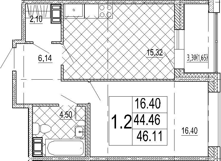 2Е-комнатная, 46.11 м²– 2