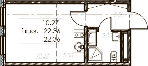 Студия, 22.36 м²– 2