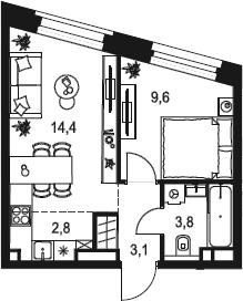 2Е-к.кв, 33.7 м²