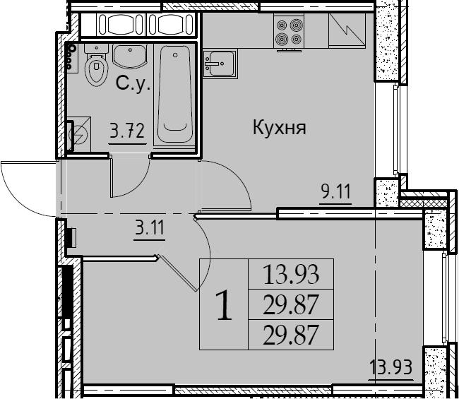 1-комнатная, 29.87 м²– 2