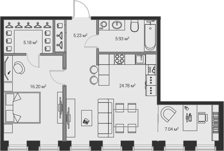 2Е-комнатная, 64.37 м²– 2