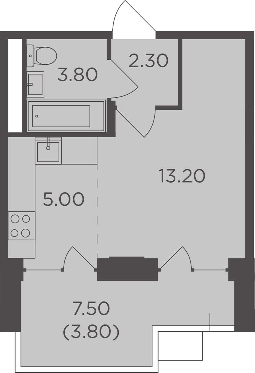 Студия, 31.9 м²