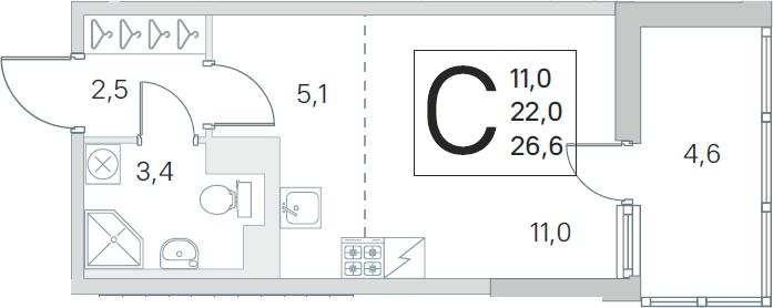 Студия, 22 м², 4 этаж