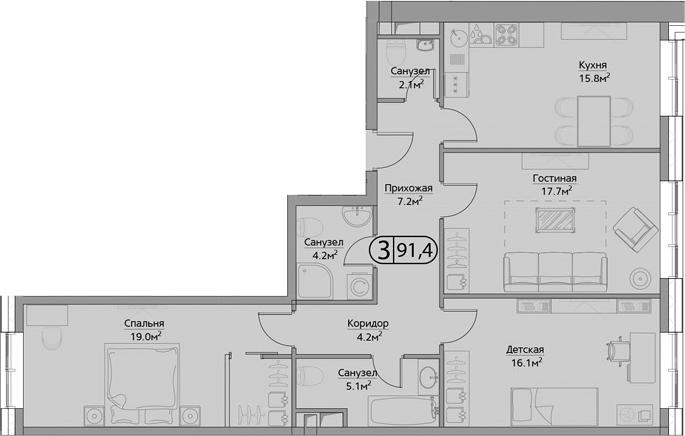 3-комнатная, 91.4 м²– 2