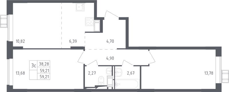 3Е-комнатная, 59.21 м²– 2
