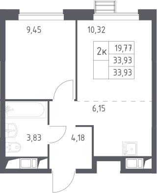 2Е-комнатная, 33.93 м²– 2