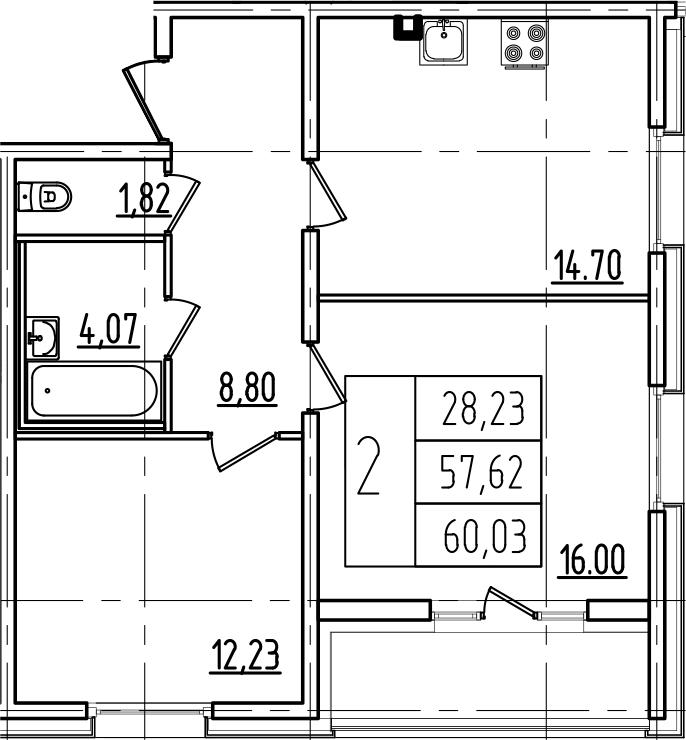 2-к.кв, 62.44 м²