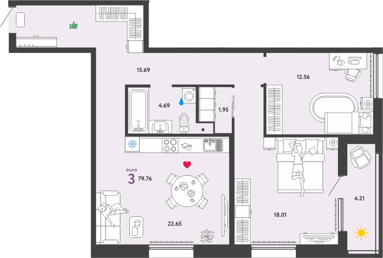 3Е-к.кв, 79.76 м²