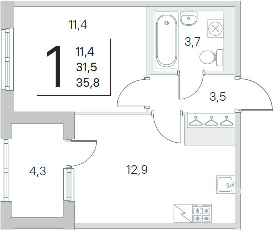 2Е-к.кв, 31.5 м², 2 этаж
