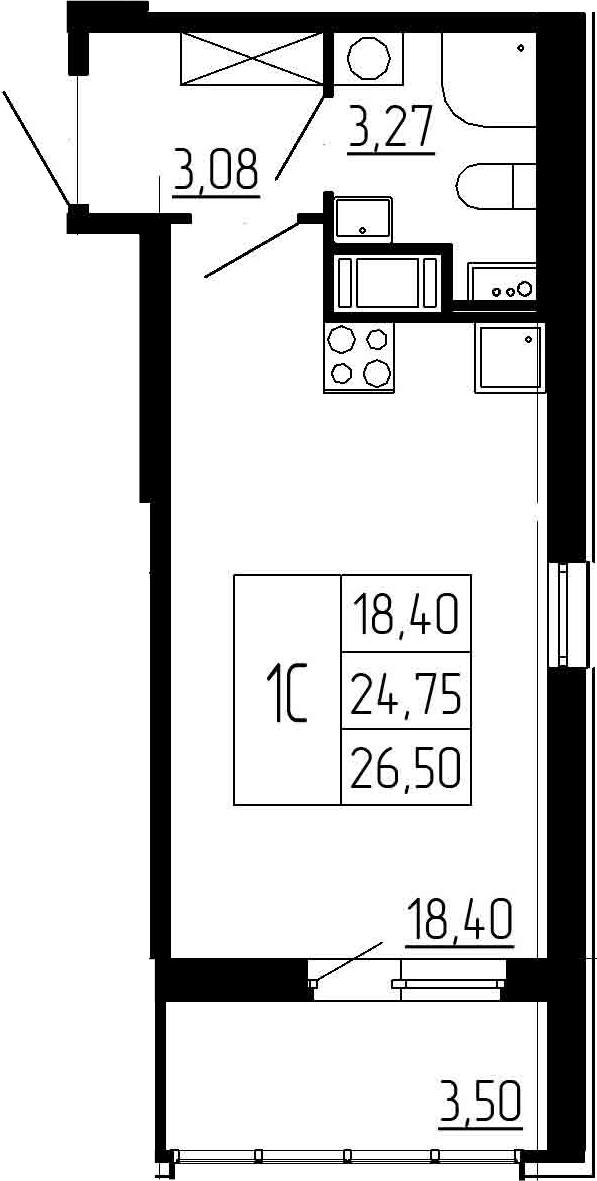 Студия, 24.75 м²