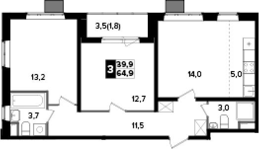 3Е-к.кв, 64.9 м²