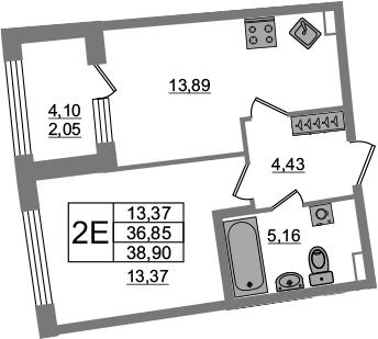 2Е-к.кв, 36.85 м², 2 этаж