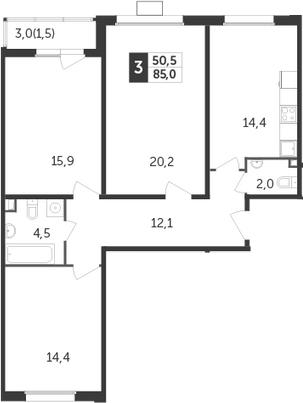 3-к.кв, 85 м², 15 этаж