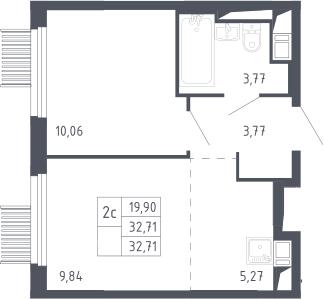 2Е-комнатная, 32.71 м²– 2