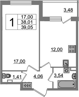 1-к.кв, 41.49 м²