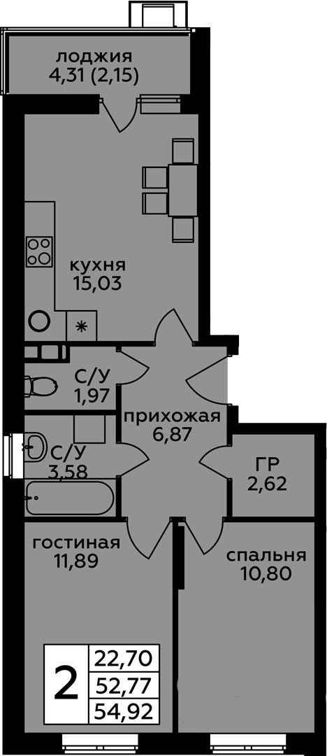 3-к.кв (евро), 57.07 м²