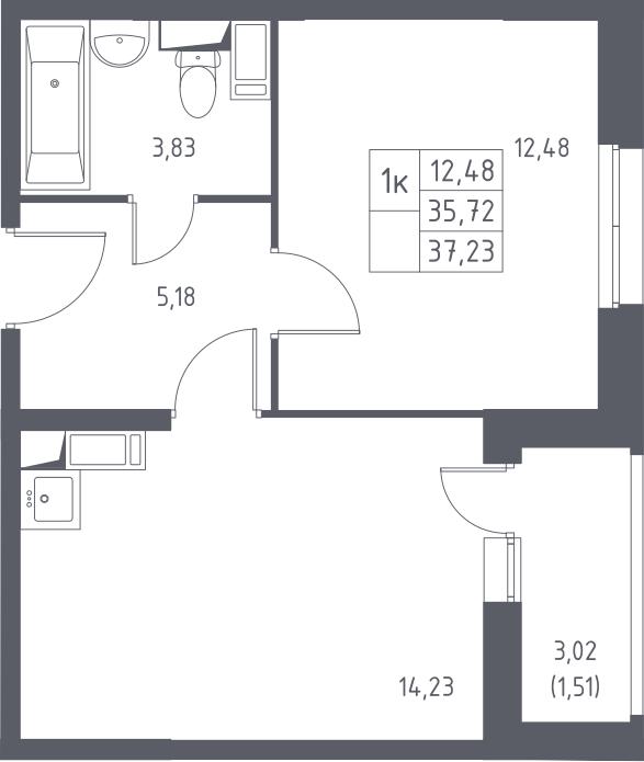 1-к.кв, 37.23 м², 5 этаж