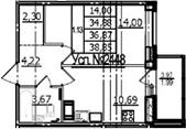 1-комнатная, 34.88 м²– 2