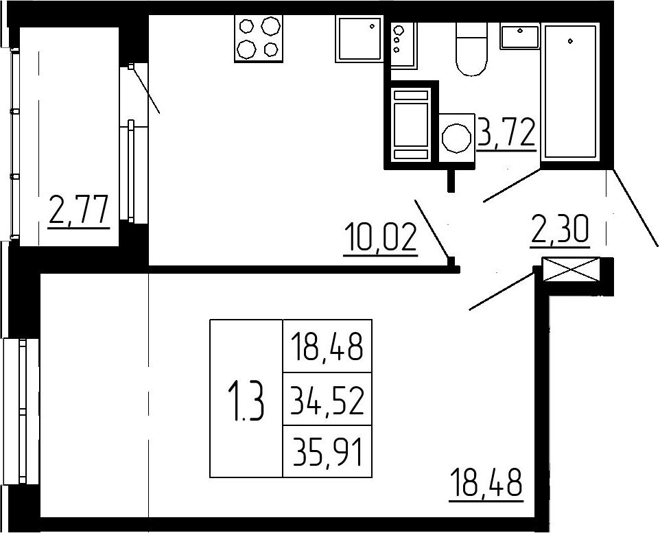 1-к.кв, 37.29 м²