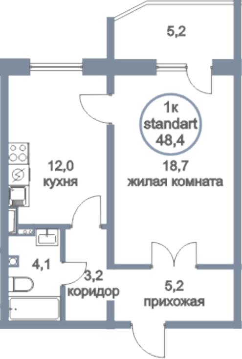 1-к.кв, 53.6 м²