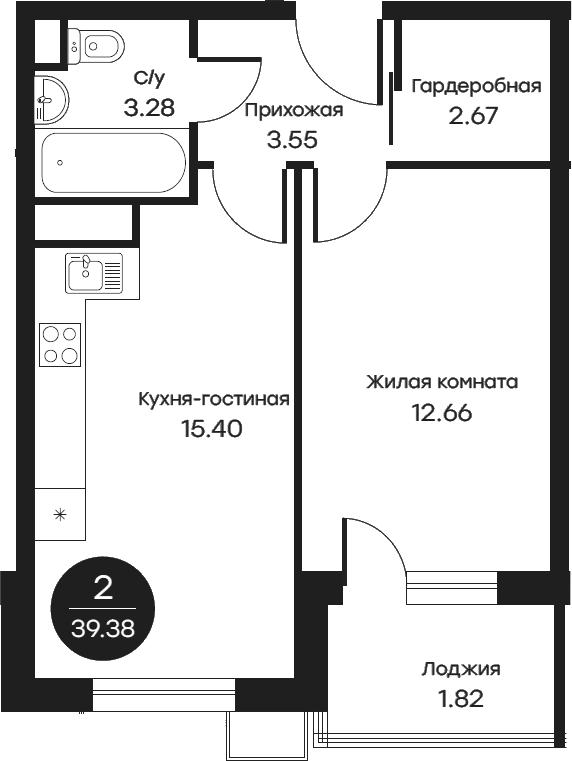2Е-комнатная, 39.38 м²– 2