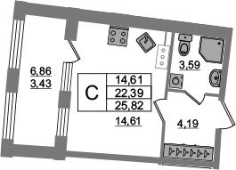 Студия, 22.39 м²