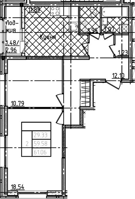 2-к.кв, 61.06 м²