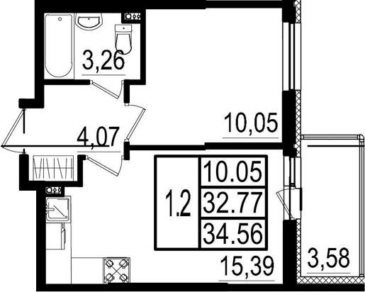 2-к.кв (евро), 36.35 м²