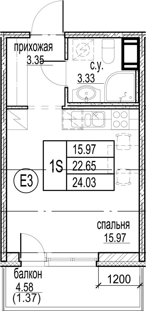 Студия, 27.24 м²