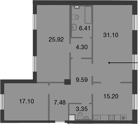 4Е-комнатная, 120.45 м²– 2