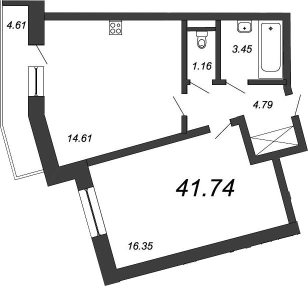 1-к.кв, 44.97 м²