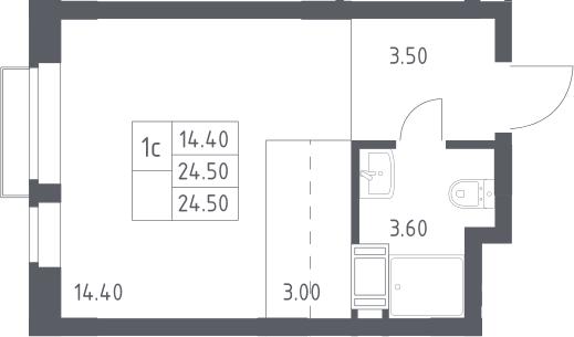 Студия, 24.5 м², 14 этаж