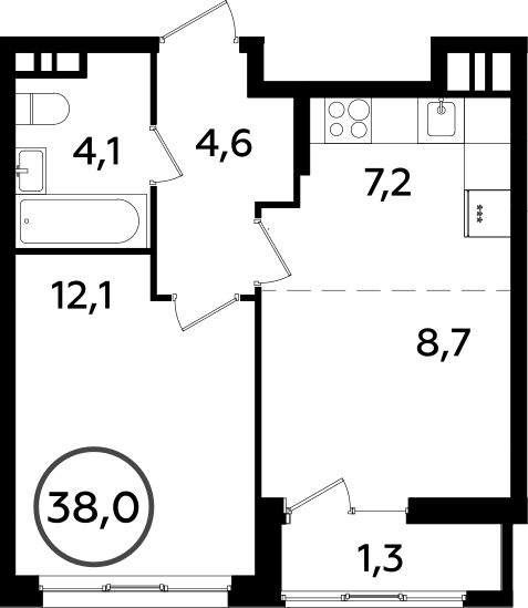 2Е-к.кв, 38 м², от 14 этажа