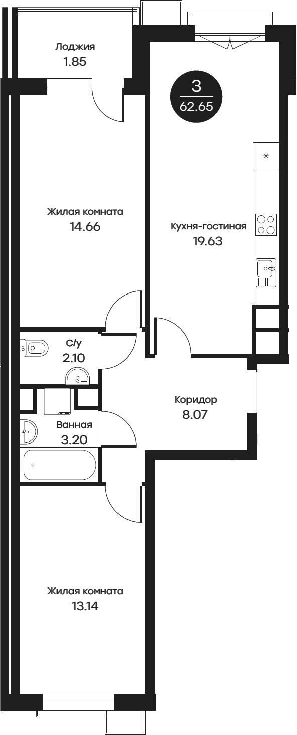 3Е-комнатная, 62.65 м²– 2