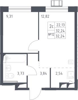 2Е-к.кв, 32.24 м²